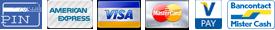 PIN, American Express, Viso, V-pay, Bancontact